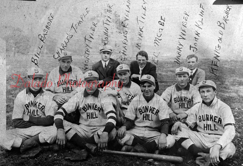 (1906) Bunker Hill baseball team in 1906 are, Bill Bashore, Charles Temple, Worthy Tyler, John Tyler, Charles Eveland, Myrich Filey, Ed McCabe, Harry Webber, John Kline, Regenold Bashore and Charlie Templin.