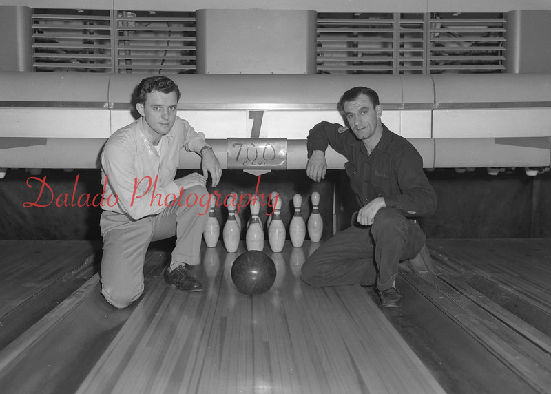 (03.06.52) Almighty Alberts are Eddie Shingar, left, and Frankie Alberts, who rolled his second 700 series as a member of the Liachowitz Diamonds in the Elks League.