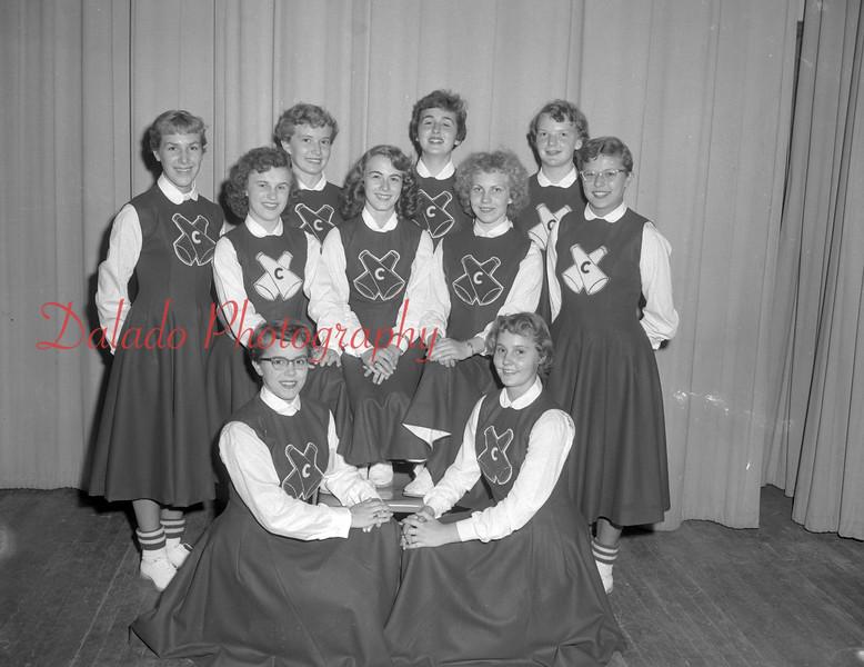 (Sept. 1954) CTHS football cheerleaders.