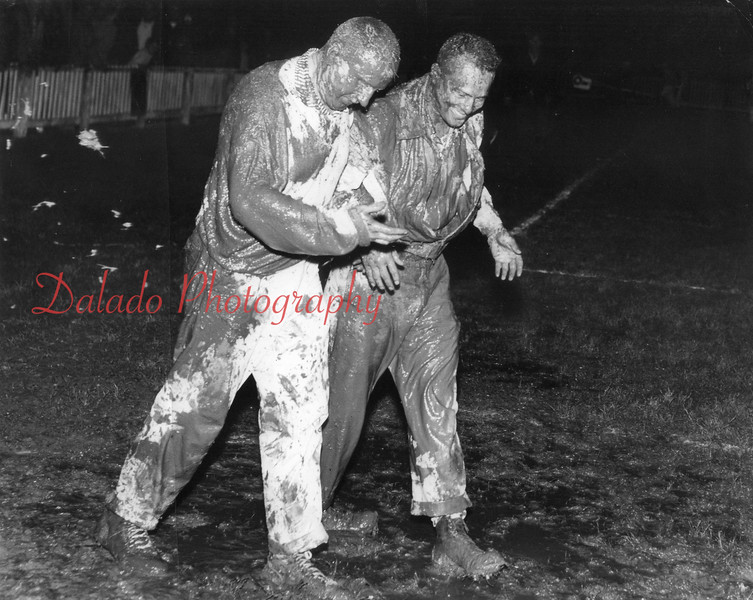 (11.15.56) Bernie Romanoski and Joe Diminick and Coal Township beat Pottsville 33 to 6 on Nov. 15, 1956.