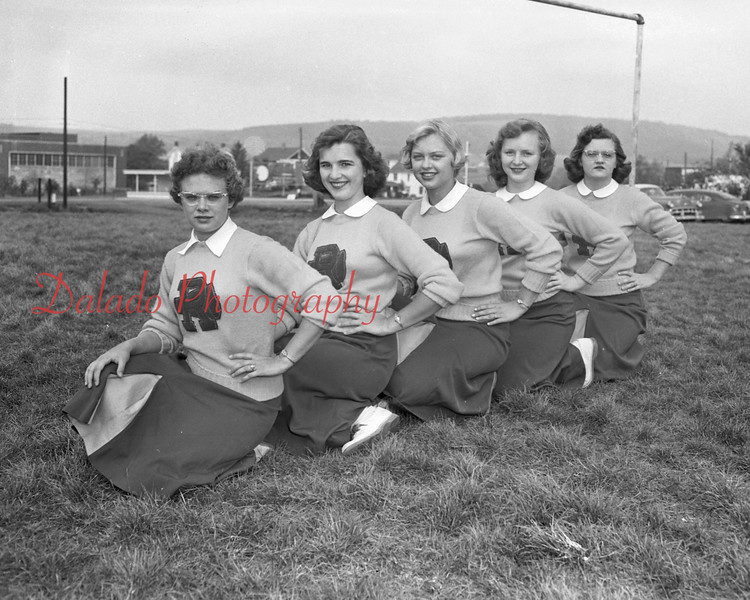 (10.13.55) Ralpho Township cheerleaders are, from left, Carole Martz, Jacque James, Helen Scisly, Nancy Marchinski and Nancy Leisenring.