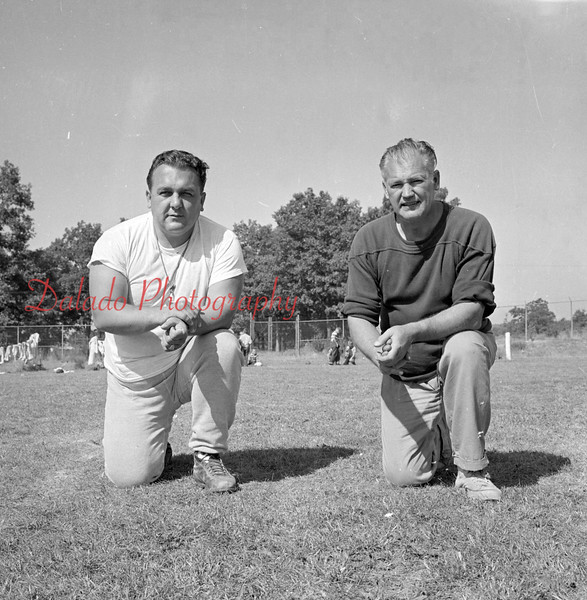 (09.05.57) Kulpmont Wildcats coaches are, from left, Ed Stanenski, head coach; and Albert Ross, assisant coach.