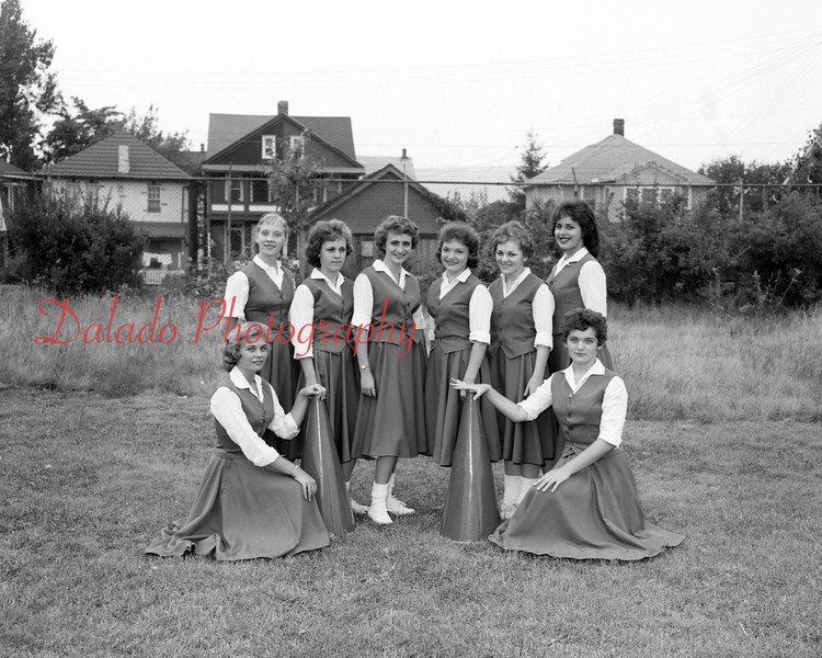 (09.11.58) Kulpmont Cheerleaders are Virginia Balaon, Carol Pisani, Theada Frye, Nancy Sheptock, Doris Nicola, Phyllis Frye and Veronica Zacker.