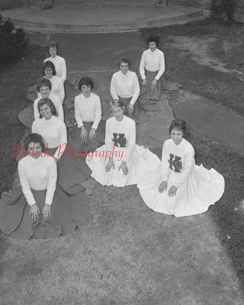 (1959) Kulpmont High School cheerleaders are Dolores Wisniewski, Barbara Jean Saweikis, Kathleen Mirarchi, Donnie Lazarski, Nancy Sheptock, (sp) Woytowich, (sp) Nicola, Virginia Albrish, Roni (sp) and Phyllis Frye.