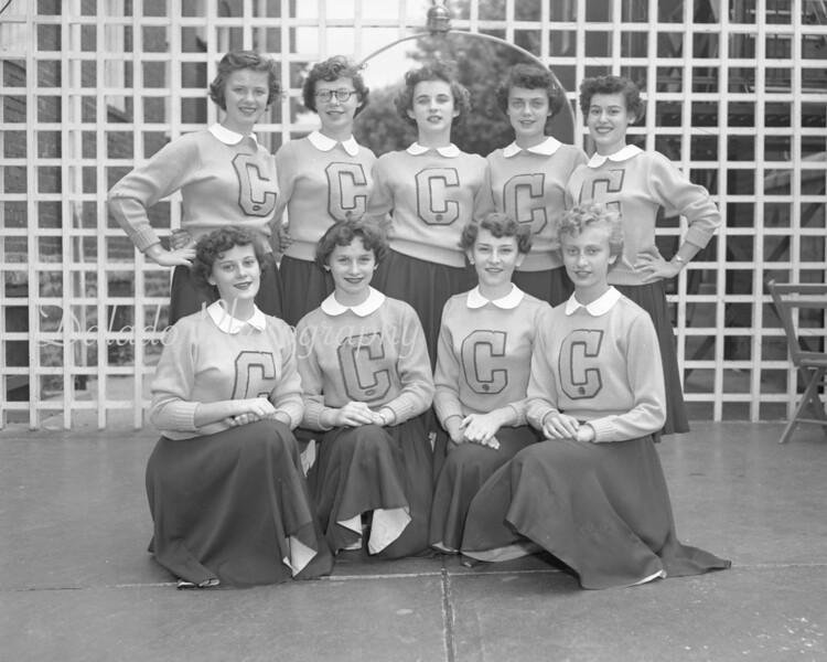 (09.13.53) Mount Carmel Catholic cheerleaders are, kneeling, from left, Ellen O'Brien, Virginia Ceheski, Joann Lukanski and Joan Patrick; standing, Joann Andrulevich, Patricia Burns, Carolyn Johnson, Theresa Kovalick and Jacqueline Clauser.