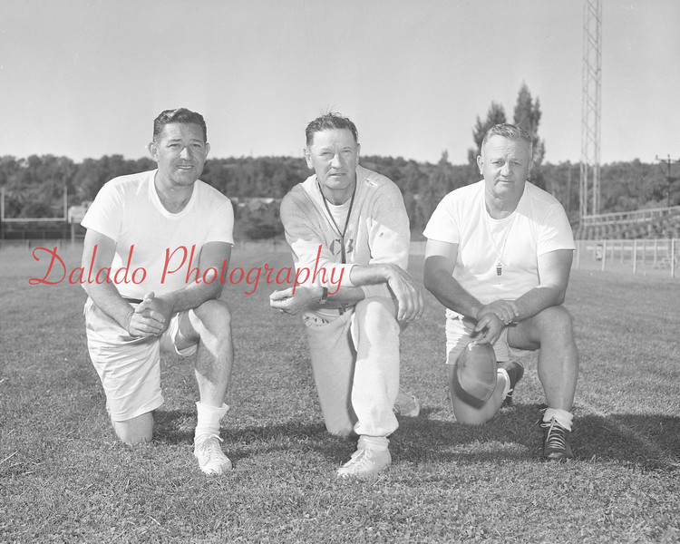 (Sept. 1960) Mount Carmel football coaches are Mike (sp), George Wrona and Carl Karlow.