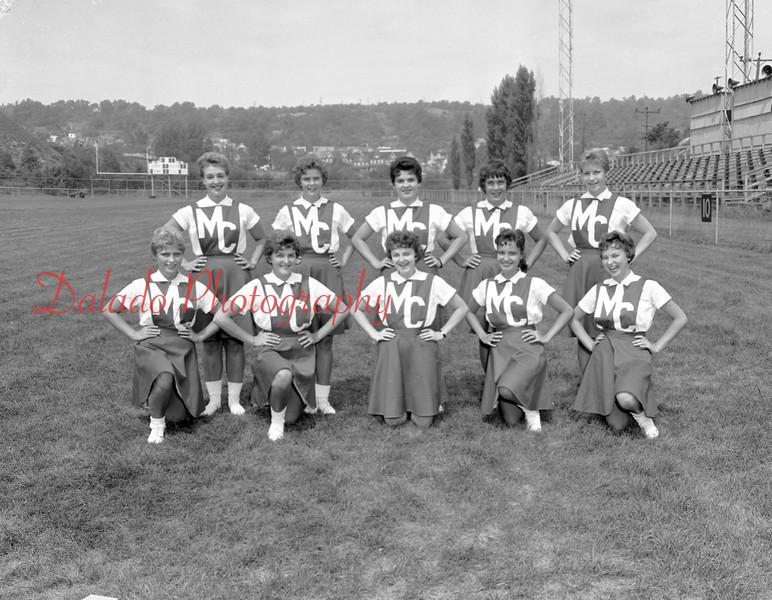 (1959) Mount Carmel High School cheerleaders are, front row, from left, Sylvia Ferrai, Mary Roszkowski, Louise Hutnick, Joyce Mossello and Mikie Halkovich; back, Sandy Strike, Irene Wozcik,  Irene Moleski, Libby Kulick and Maureen Yascavage.