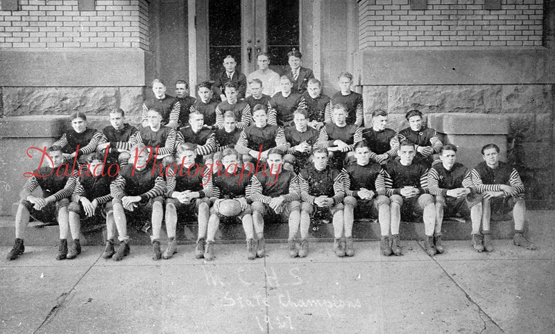 (1927) A photo of a photo of the 1927 Mount Carmel football state champs.