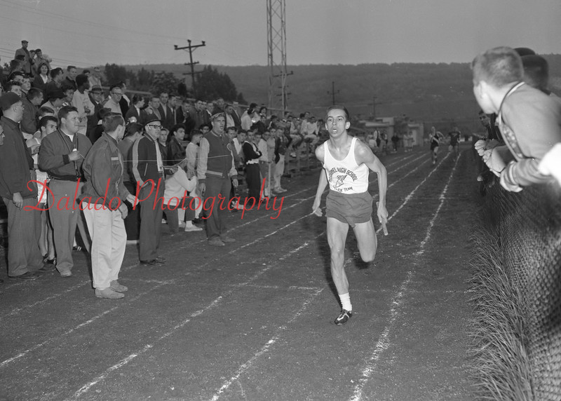 (May 1960) Mount Carmel High School track. Pictured is Steve Bolick.