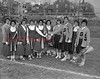 (Oct. 1960) Mount Carmel and Shamokin cheerleaders with the Coal Bucket at the Silver Bowl.