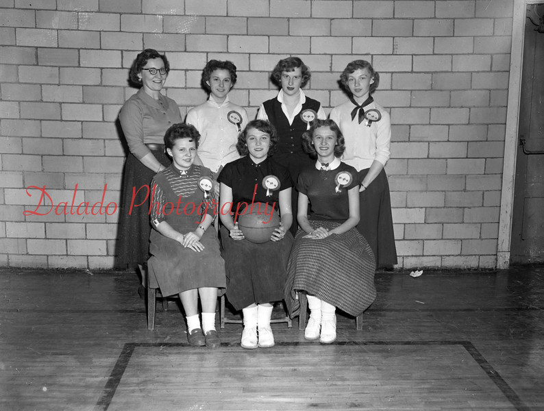(02.03.55) Intramural champs of the Kulpmont High School girls basketball league are, front row, from left, Stella Alehis, Janet Davies and Connie Switzer; standing, Louise Pello, instructor; Mary Ann Olsheski, Barbara Sawaikis and Barbara Kodyszleskie.