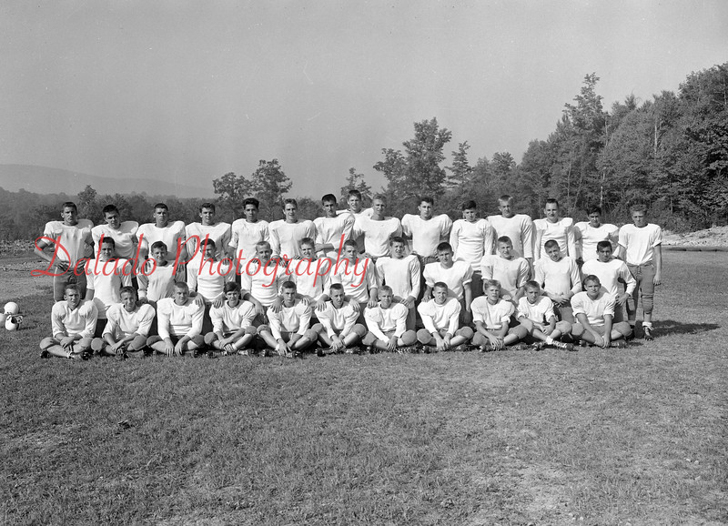 (1959) Members of the Red Raiders are, front row, from left, Gerald Fellin, Edward Wallish, William Jones, Robert Face, Robert Leffler, Edward Martz, Ronald Brennan, Albert Glennon, William Barke, Ronald Zyla and Lee Korbuch; second, Peter Zalanowski, Thomas Waraksa, Thomas Yezerski, John Jones, Mike Weslotsky, Thomas Martini, Charles Dombroski, Bill Rosini, Edward Haile, Alphons Snokowicz and George Malakoskie; back, Raymond Kearney, Robert Letcavage, John Gurski, Alfred Avellino, Robert Leavens, Conrad Nasatka, Robert Wolfe, Patrick Brennan, Richard Knapik, George Shade, (sp) Cashmareck, Edward Weinhoffer, (sp) Capozello and John Brennan.