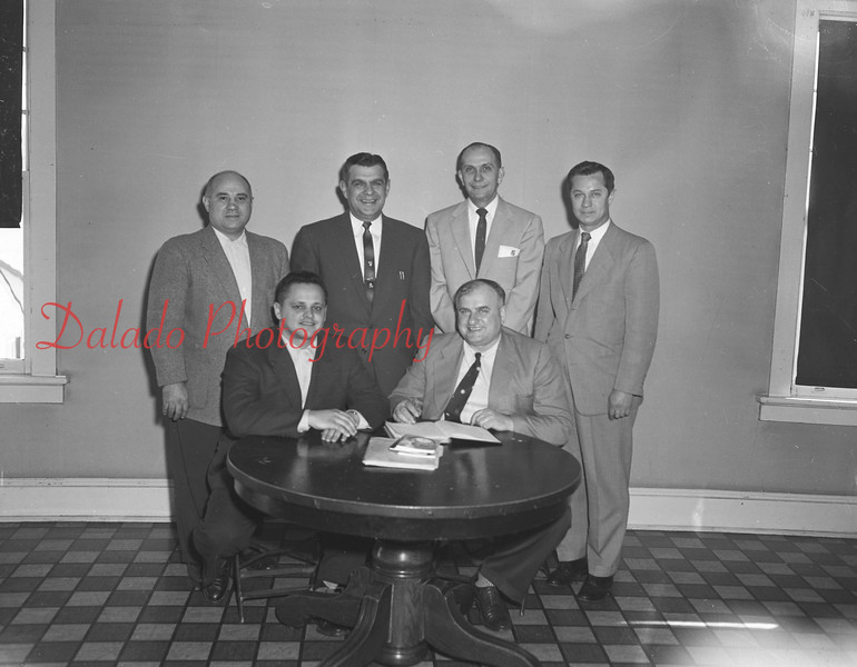 (02.23.56) Officers of the East Susquehanna Chapter of the Registered PIAA basketball officials are, seated, from left, Leon Korbich, Edward Markowski; standing, Al Masciontonio, Joe Linetty, Andrew Siket and Anthony Narke.