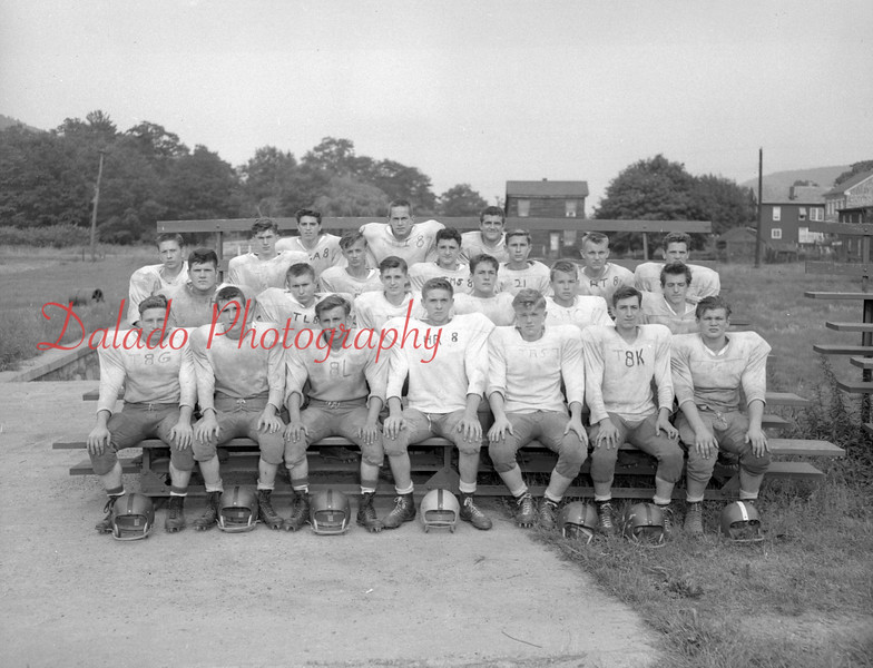 (09.11.58) Trevorton High School Football are, front row, from left, Rob Allen, Mick Sager, Jim Deroba, Russell Tschoop, Dale Peifer, Rich Bridi and Boyd Whalen; second, Ned Long, Carolas Reed, Charles Kerstetter, Tom Kehler and Tom Klinger; third, Howard Sodrick, Darwin Marquente, Bob Jones, Jim Konyar, Joe Brondkoski, Wayne Eisenhart and Joe Berra; fourth, Edward Defacis, Irv Strohecker and Ed Berra.