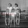 (01.06.55) St. Anthony's basketball are, front row, Ed Laczkowski, Jackie Witkowski and John Piechowski; second, Bob Karpinski and Anthony Dozowicz.