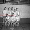 (02.28.52) St. John's Evangelical U.B. Basketball team are, front row, Lester Bailey, Ron Olley and Jim Hoffman; second, Don Spotts, Bert Jones, Don Stamets, Charles Faust and Bob Hoffman.