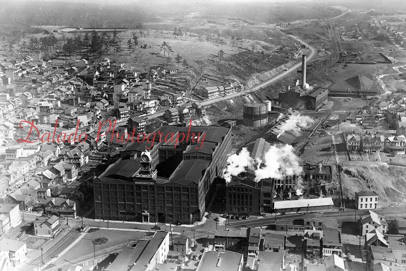 Aeriel view of The Mill and Print & Dye Works. Also seen in the top, right, of the photo is the Electrical Station.