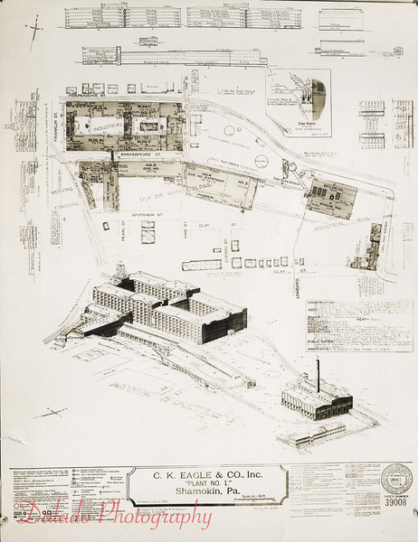 Blue prints for the J.H. and C.K. Plant No. 1 (Main Plant).
