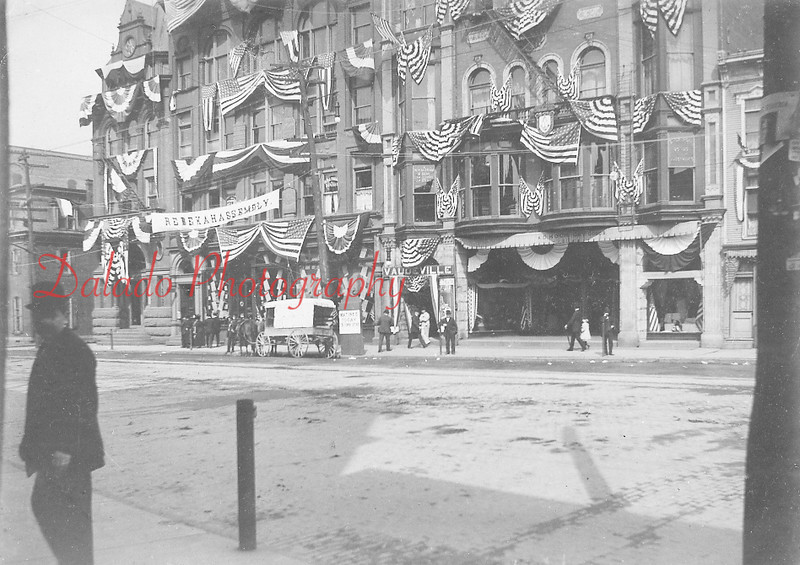 Patriotic Order Sons of America (P.S.O. of A.) building, at right, located on Independence Street (where Wendy's is now located).