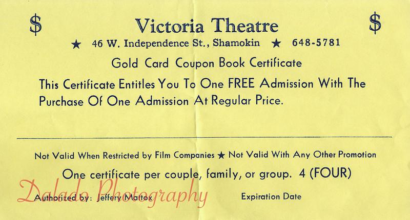 Victoria Theatre free admission pass.