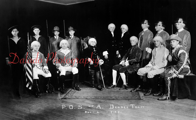 (12.06.1927) ...Here are a few members of the Patriotic Order Sons of America (P.S.O. of A.) Degree Team. Pictured are, front row, from left, Warren Heckert, Ralph Yost, John Schankweiler, Clarence Werntz, Ray Ressler and Leroy Smith. Standing are William Moore, Sam Wilson, Robert Mullen, James Yost, Francis Shively, William Wilson, UNK, Ezra Culp and Robert Krelger. P.S.O. of A. In 1927, the lodge had a membership of 800. Later, the Family Theathre and Capital Movie Theatre occupied the building...