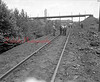 (Sept. 1956) Workman remove the railroad branch from the Locust Spring Colliery to the Locust Summit railroad yard. One mile of track removed.