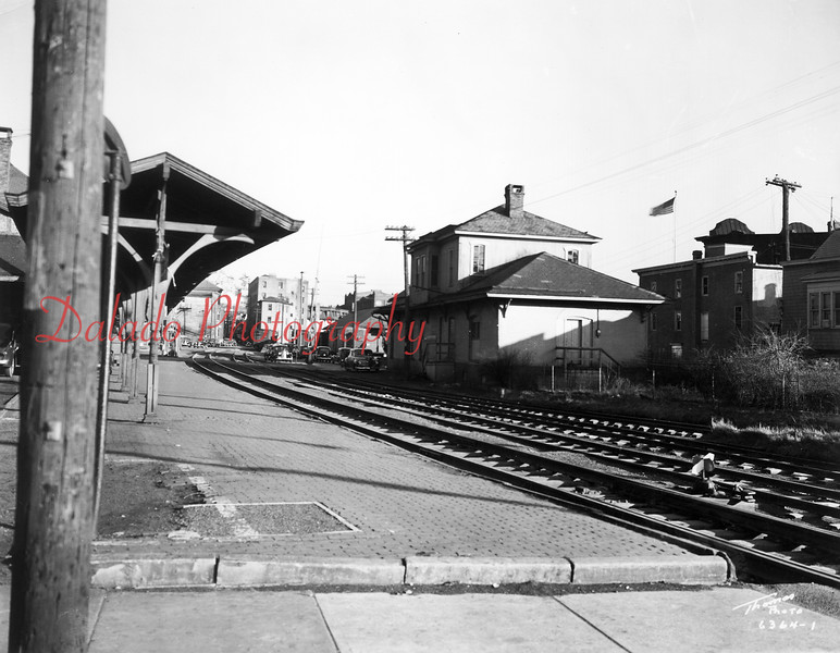 This is a view of Pa. Railroad (PRR) tracks looking east on Commerce Street in Shamokin.