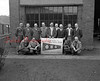 (05.15.52) Employees of the Reading Railroad Co. engine house and car department are, kneeling, from left, William Brennan, Andrew Shepass, Harry Chaundy and William Herrold; standing, Troy Brown, Ed Yocum, Andrew Welker, Ralph Miller, Elwood Spotts, Thurston Arnold, James Madenport, Elbert Arnold and John Smink.