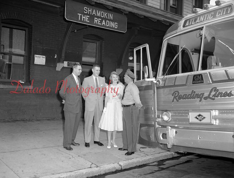 Miss Shamokin at the Reading Railroad station.
