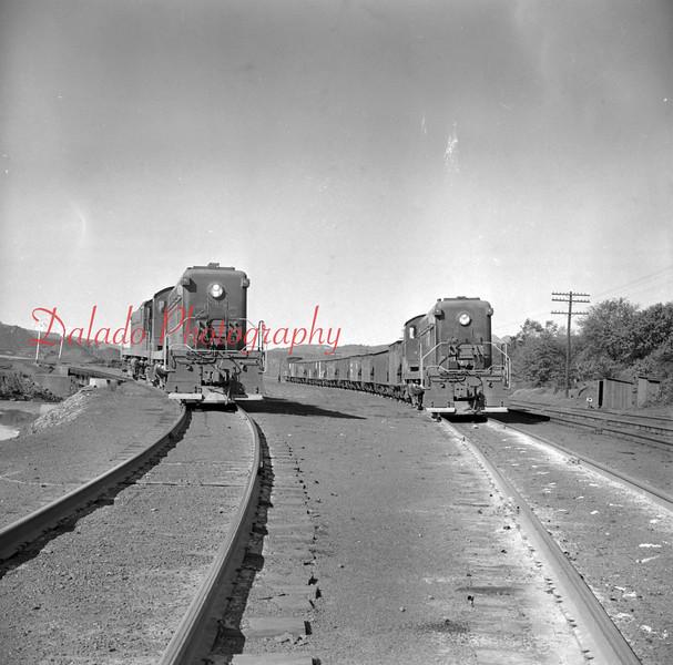 (Oct. 1957) Trains near the St. Nick Breaker.