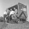 (1963) The new railroad spur serving the Shamokin Area Industrial Park at Paxinos was formally dedicated. Taking their first ide on the new P.S. & O.E. Railroad were, from left, Shamokin Treasurer George Edwards, William Bradley, immediate past president of the Chamber of Commerce; Mayor Lester Weller and Joseph Star, president of the Coal Township Planning Commission.