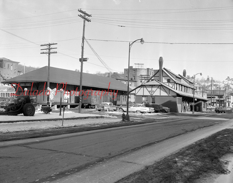 (Jan. 1961) Shamokin Reading Railroad Company freight and passenger stations- Demolition of the station began in Oct. of 1965 to make room for parking improvements. The freight station was razed in the spring of 1966.