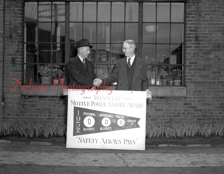 (05.01.52) Employees of the Reading R.R. Company Engine House and Car Department are James Madenfort and John Smink.