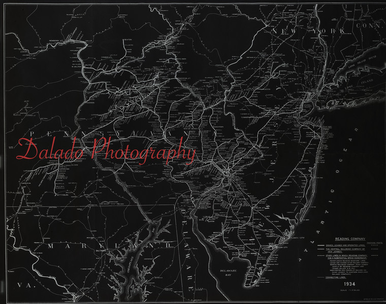 (1934) Showing the stations of the Reading Railroad.