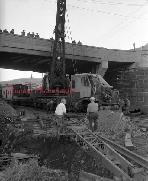 (1959) Looks like the crane collapsed near the Cameron Bridge.