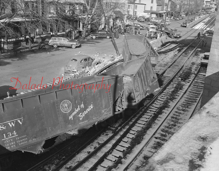 (1955) Train wreck on Commerce Street in Shamokin.