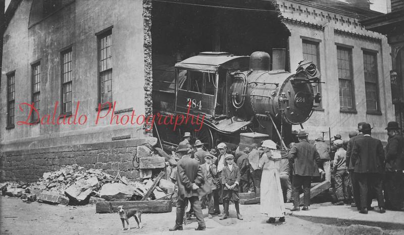 Spruce Street engine house wreck in Shamokin.