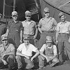 (1951) Shown next to a train derailment behind Palmers Diner in Coal Township are, front row, George Metz, Al Buczeskie and Howard McClain; back, Buton Logic, Buck Okrentovich, Mike Vitaoco, Robert Yost and Joe Thompson.