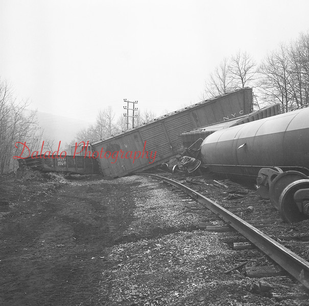 Train wreck, unknown location or date, most likely early 1970s.