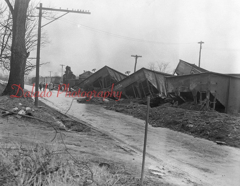 (April 1951) Pennsy train wreck. A train derailment near Deibler. (Deibler is located in the area of Short Road, off Snydertown Road.)