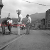 (1950) Men working on crossing at Shamokin and Independence streets.