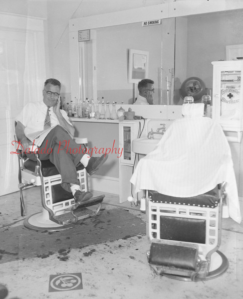 (Sept. 1956) Unknown barber.