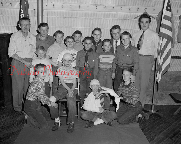 (05.17.51) Scout Troop 57, sponsored by Trinity Luthern Brotherhood, are, front row, from left, Alvin Gass, Tom Walsh, Jim Williams and Conrad Stanitski; second, Bill Laver, Ken Kroh, Porter Eidam, Marlin Schickley, Terry Moll and Robert Yarwarth; back, Elvin Kroh, Gary Willow, George Schickley, Bob Mattern, Charles Moll and Francis Schlader, assistant Scoutmaster.