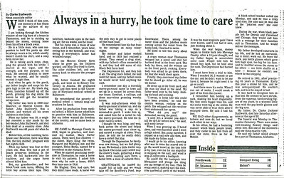 Newspaper article by Clarke Stallworth about his father.