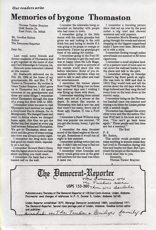 Letter to The Democrat Reporter from Thomas Tucker Brayton.