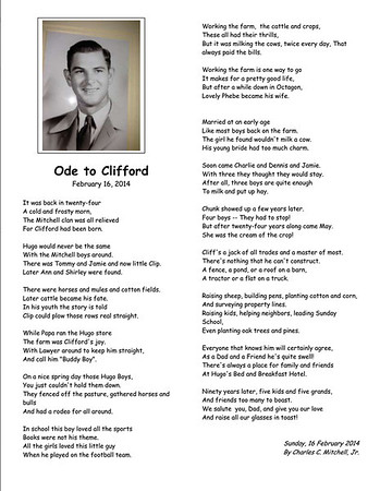 """Ode to Clifford"" - A poem by Charles C. Mitchell Jr. in honor of his father at his 90th birthday."