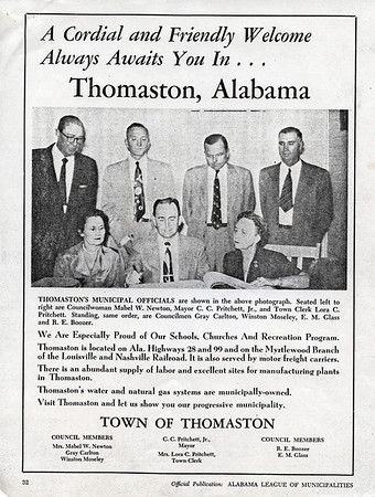 Thomaston advertisement in the December, 1954 issue of the Alabama Municipal Journal.