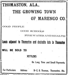 Advertisement from Dr. C.B. Thomas about land for sale.