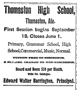 Thomaston High School First session begins September 18, 1905