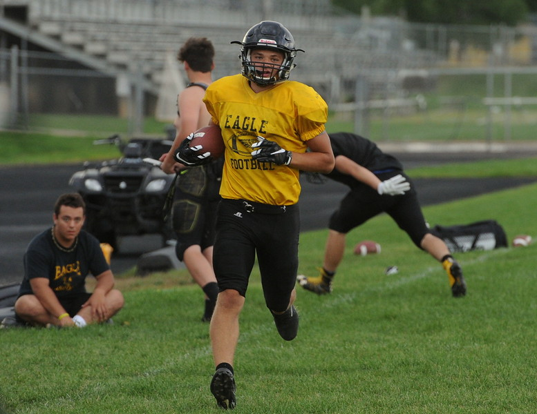 Thompson Valley sophomore Cam Nellor returns a punt during a recent practice at TVHS.